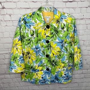 Kim Rogers Floral Pattern Button Front Jacket 14